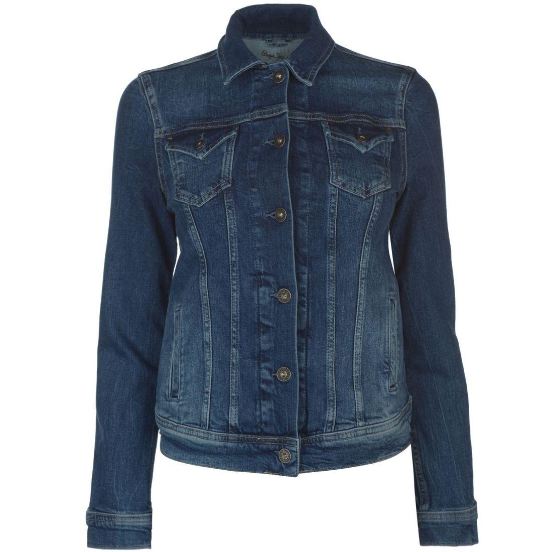 86de34f1da Details about Pepe Jeans Womens Denim Jacket Coat Top Button Placket Chest  Pocket Fold