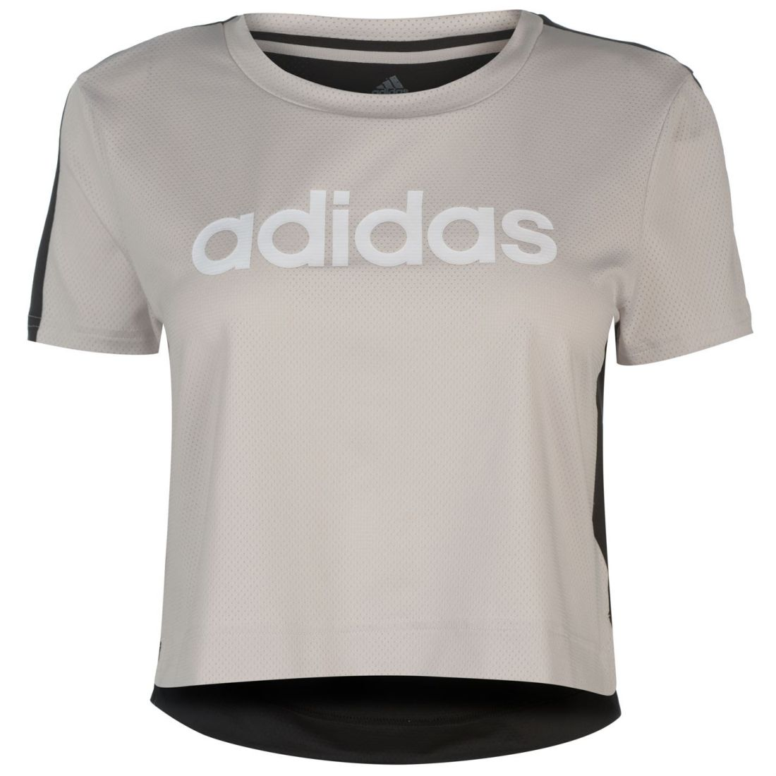 c16f9a87 adidas Womens Linear Crop T Shirt Short Sleeve Performance Tee Top Mesh  Stretch