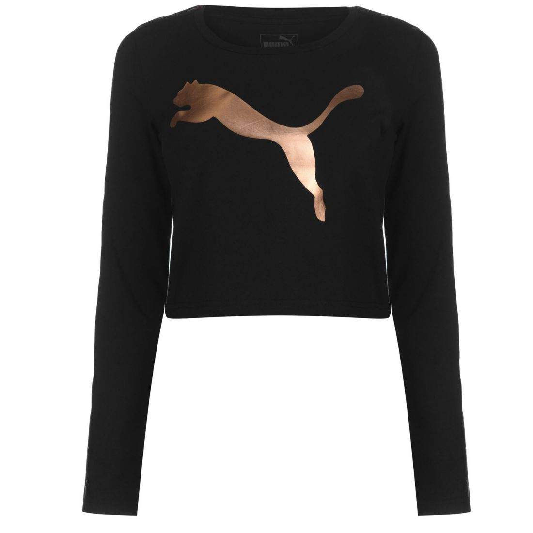 4c0bf50dd6c809 Details about Puma Full Length Sleeve Crop T Shirt Ladies Cropped Tee Top  Crew Neck