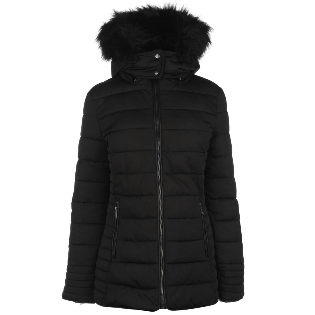 Faux Luxe Trim Dame Firetrap Frakke Bubble Top Puffer Zip Hooded Fur Jacket P5vdvZqw