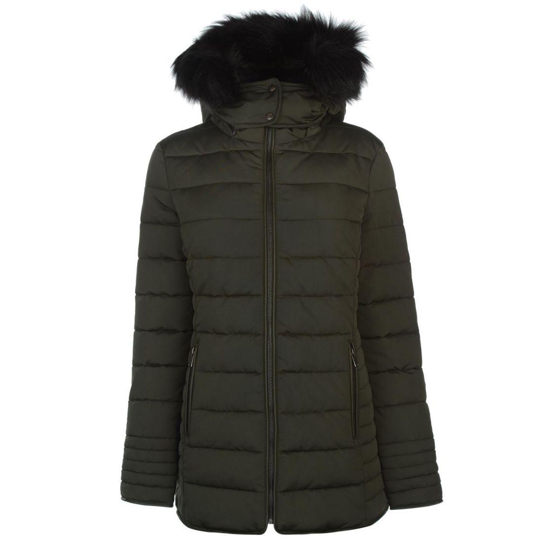 Faux Hooded Top Bubble Puffer Dame Firetrap Fur Frakke Jacket Luxe Trim Zip q0ppgP