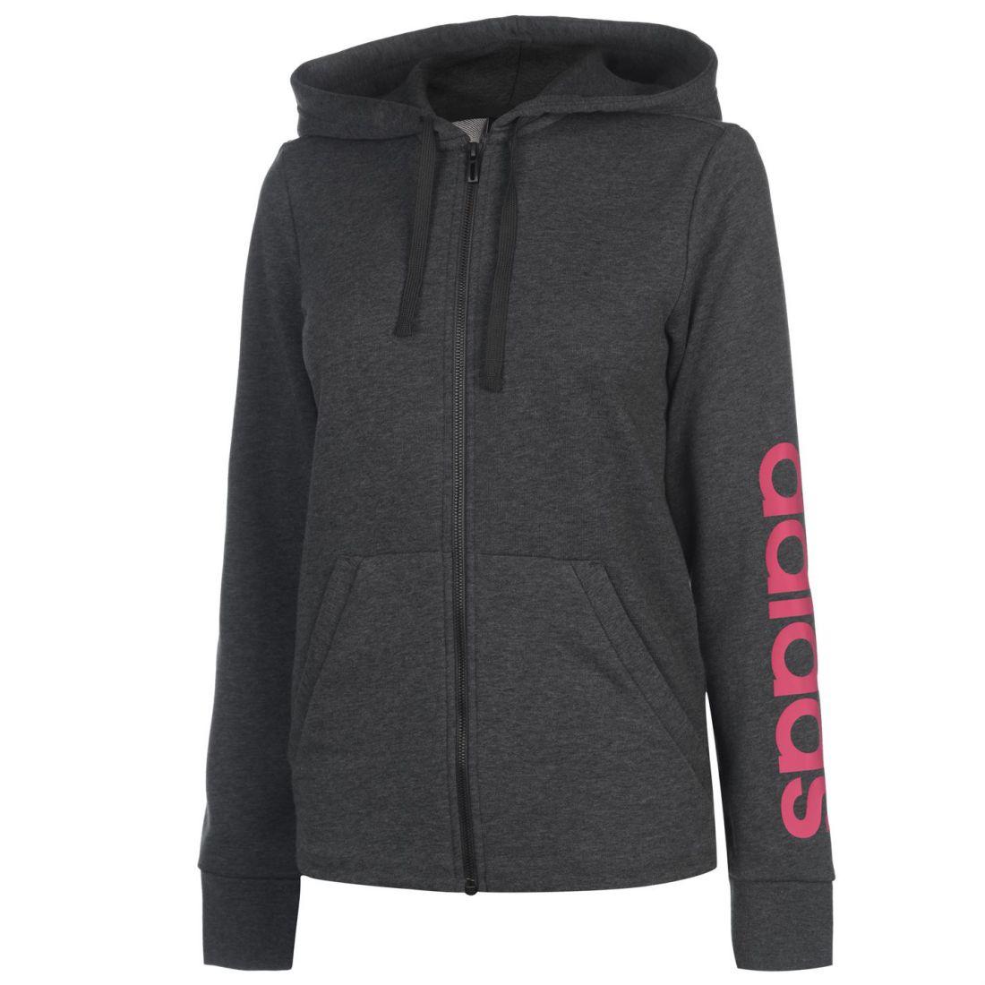 Adidas Womens Full Zip Zip Zip Hoody Hoodie Hooded Top Long Sleeve Print Drawstring 19c536