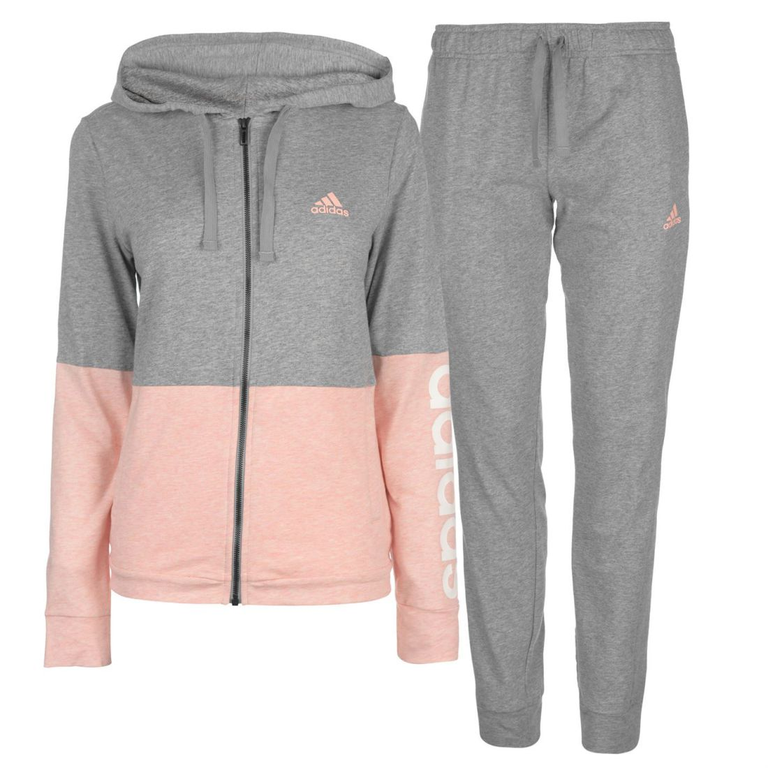 Details about adidas Marker Tracksuit Ladies Fleece Full Length Sleeve Hooded Zip Zipped