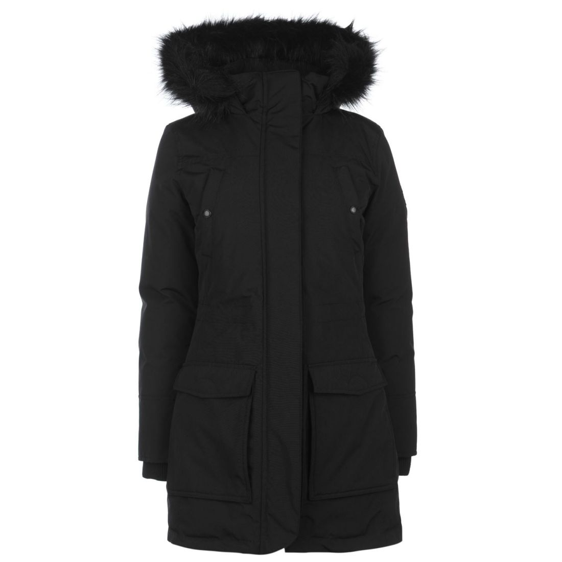 Fur Ladies Black Parka Faux Top Firetrap Down Jacketcoat Trim Brystlomme Hooded Zip ERC1qw0xw