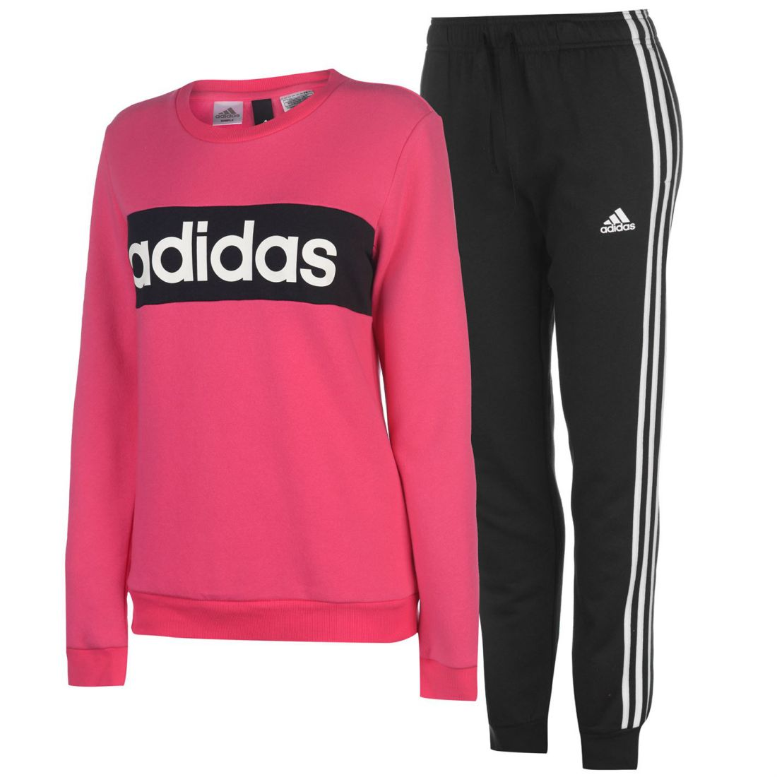 a95f7cbcccfd adidas Womens Chillout Tracksuit Fleece Long Sleeve Crew Neck Stripe ...