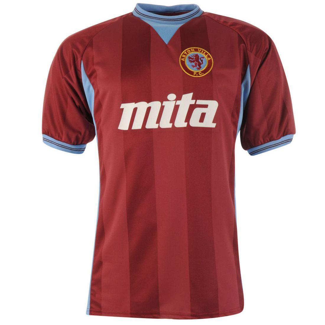 Score Draw Mens Aston Villa Football Club 1984 Home Jersey Retro Shirt Short