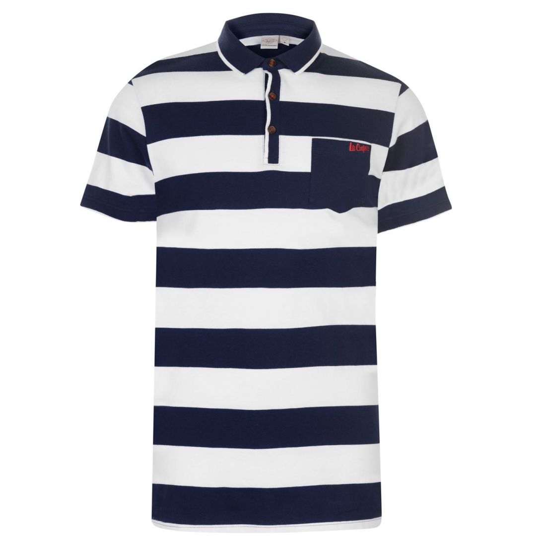 d8166b790 Lee Cooper Mens Stripe Polo Shirt Classic Fit Tee Top Short Sleeve ...