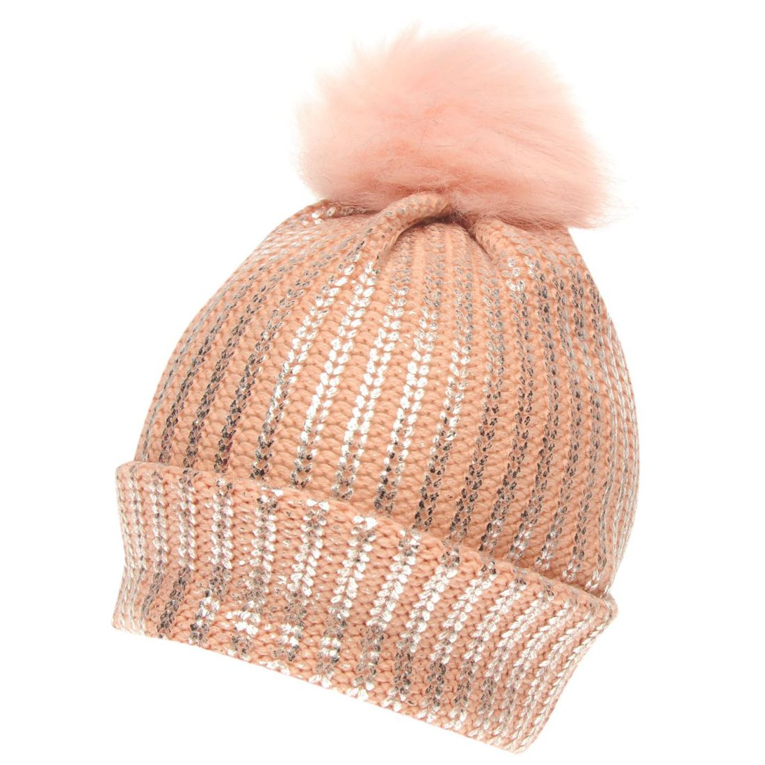 9092e69350a Crafted Essentials Kids Girls Foil Pompom Hat Junior Bobble Winter ...