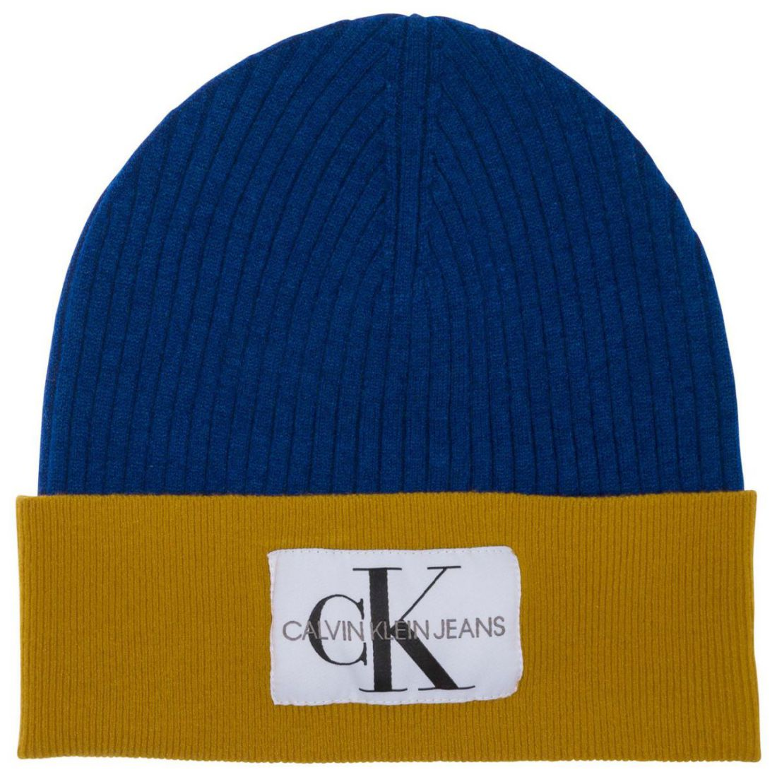 c4487469870 Image is loading Mens-Calvin-Klein-Colour-Block-Beanie-Tonal-Stitching-