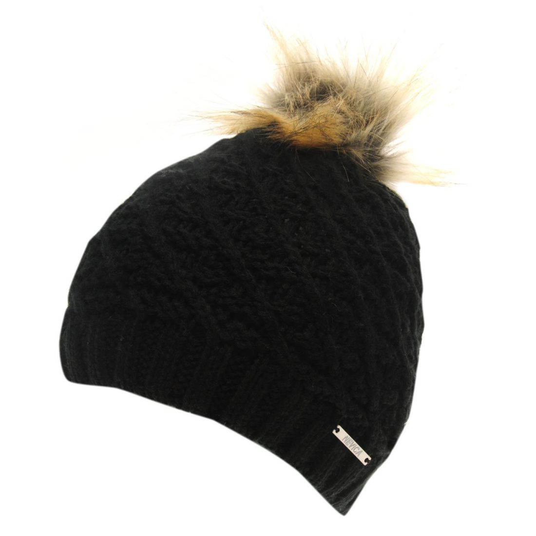 8c16e2f1a Details about Nevica Womens Vail Beanie Ski Hat Pattern Warm Faux Fur  Knitted