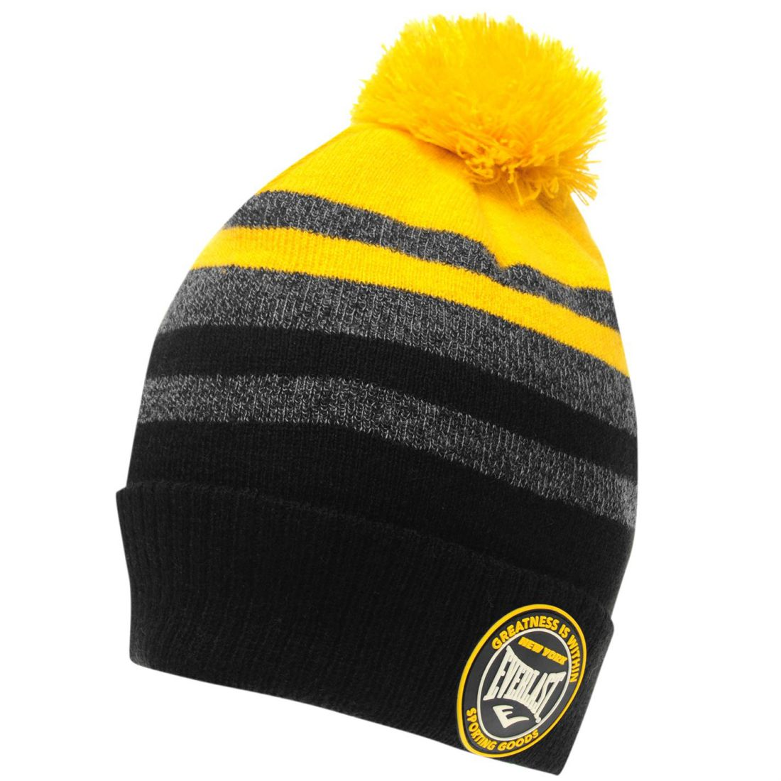 Image is loading Everlast-Mens-Champion-Hat-Bobble-Stripe-Knitted e86068a0ce39