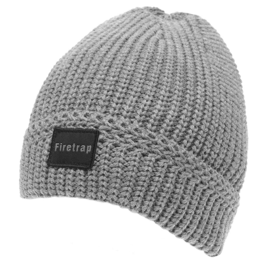 1de723dcb875c Details about Firetrap Mens Ribbed Beanie Hat Winter Warm Stretch