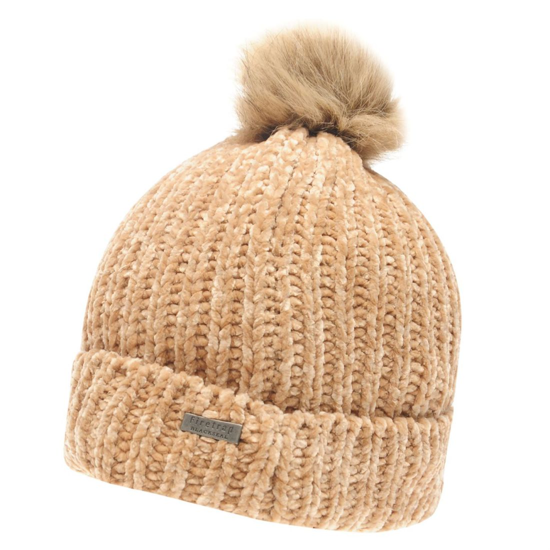 Details about Firetrap Chenille Hat Ladies Beanie Pattern Warm Faux Fur  Knitwear 0e1ff71be