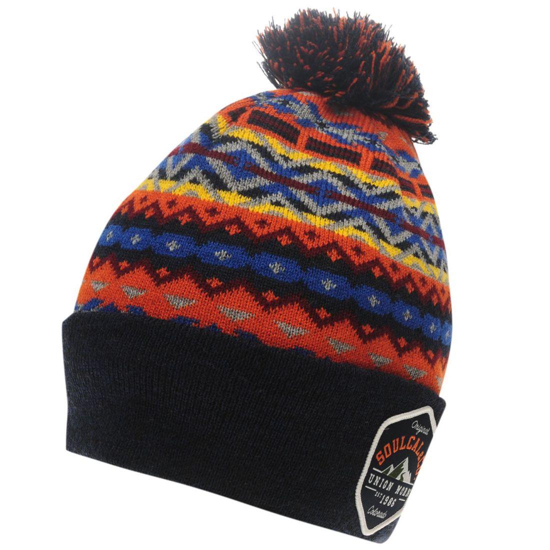 SoulCal Mens Aztec Knit Hat Bobble Print  1f961ca4748