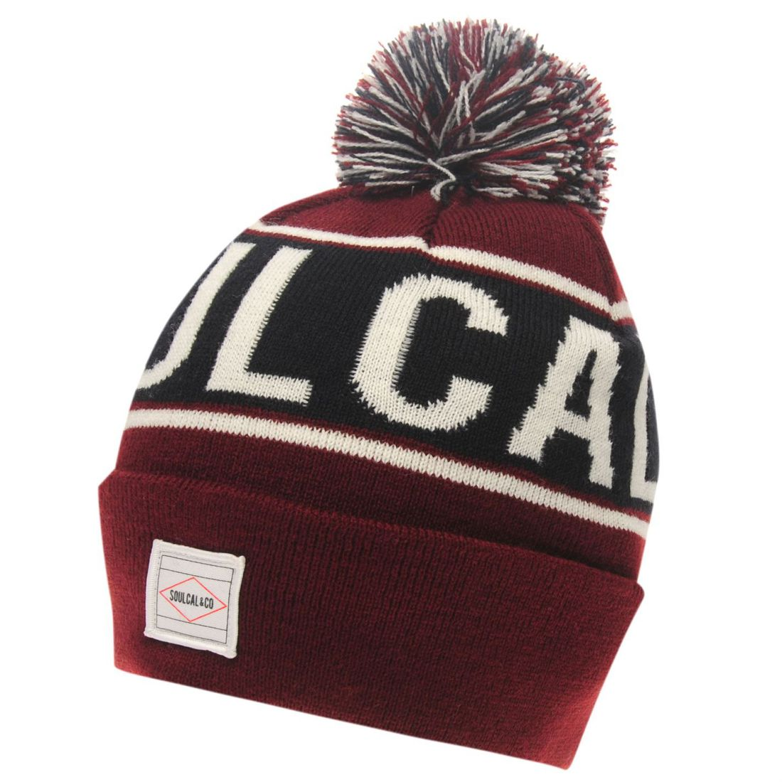 da2eac7f Details about SoulCal Mens Branded Beanie Hat Bobble Knitted