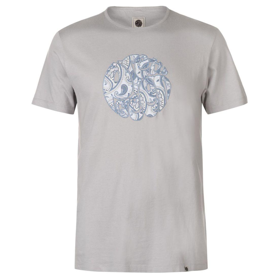 567d64f3ad Mens Pretty Green Paisley Print Applique T Shirt Crew Neck Short ...