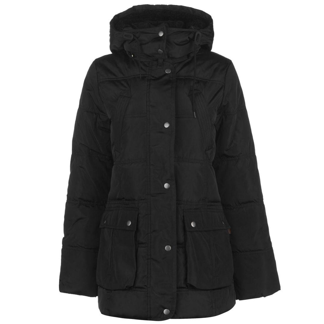 GH Bass Womens Padded Jacket Puffer Coat Top Long Sleeve Cotton Hooded Zip  Full 192835d4829e