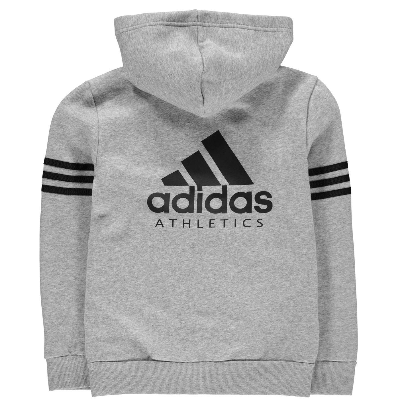 adidas Kids Boys Sport ID Zip Hoody Junior Hoodie Hooded Top Long ... 7c3e43ece7bc