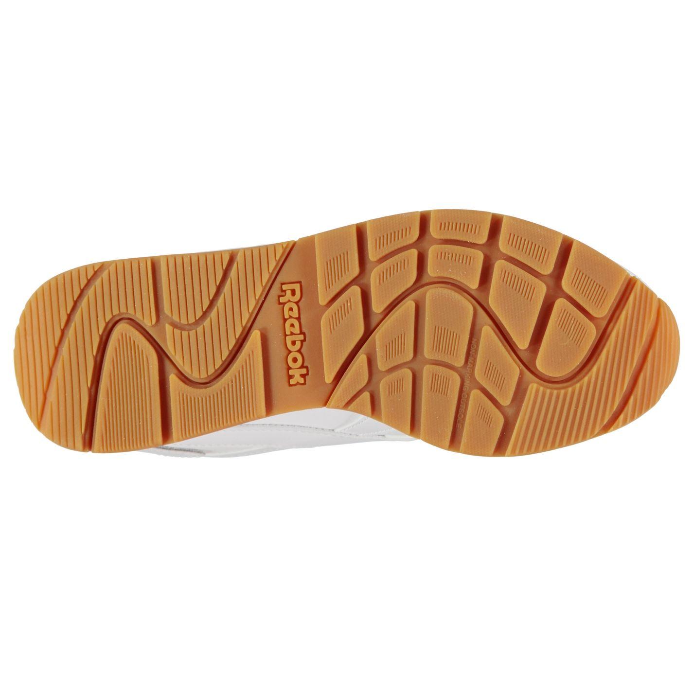 blanca con Reebok Lengua Laces de acolchado goma Classic Sneakers Ladies cuello tobillo Glide blanca XPqnwPrvR