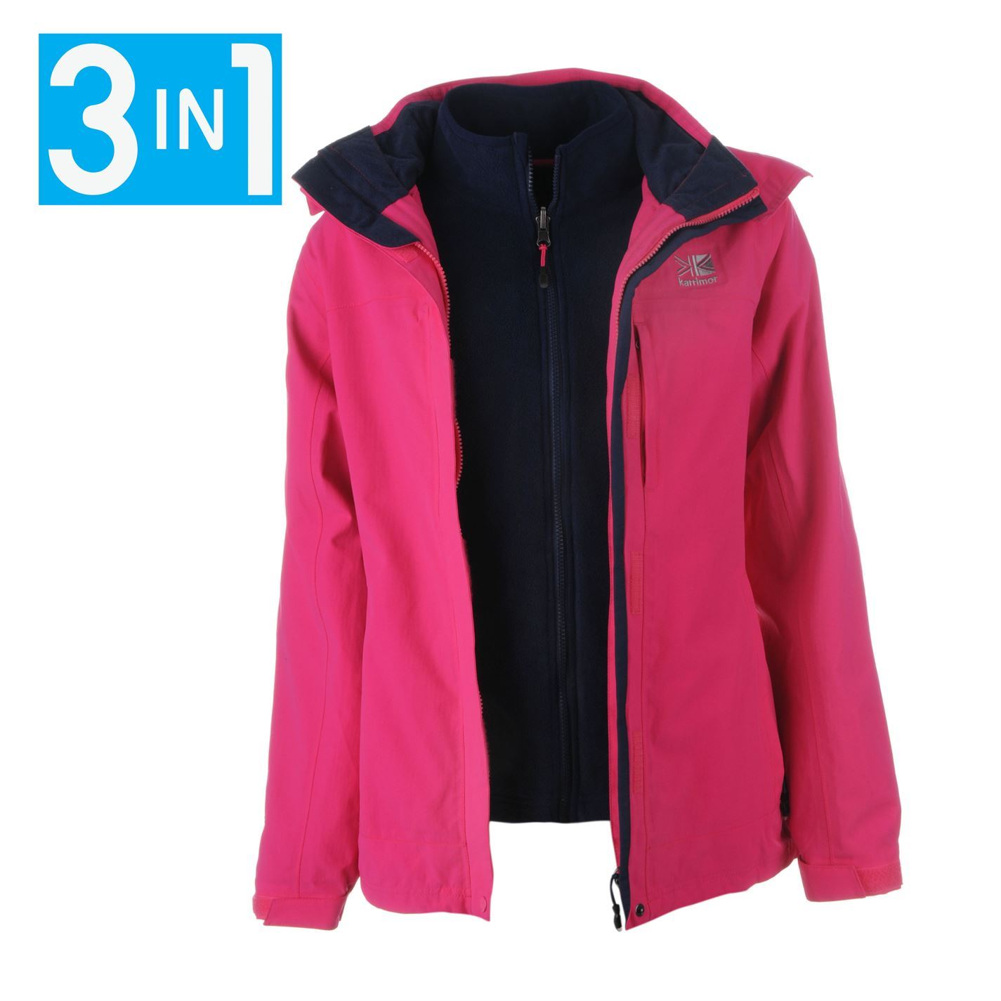 36946096ecf Details about Karrimor Womens 3in1 Jacket Coat Top Ladies Hooded Fleece  Mesh Lining Warm Sport