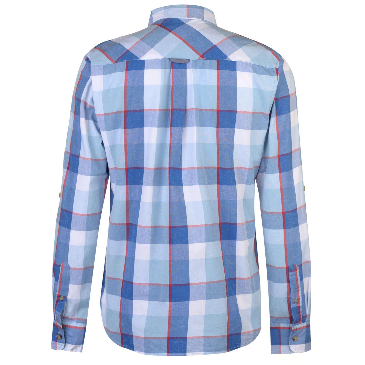 b3fee8b2631 SoulCal Mens Long Sleeve Check Shirt Casual Lightweight Cotton