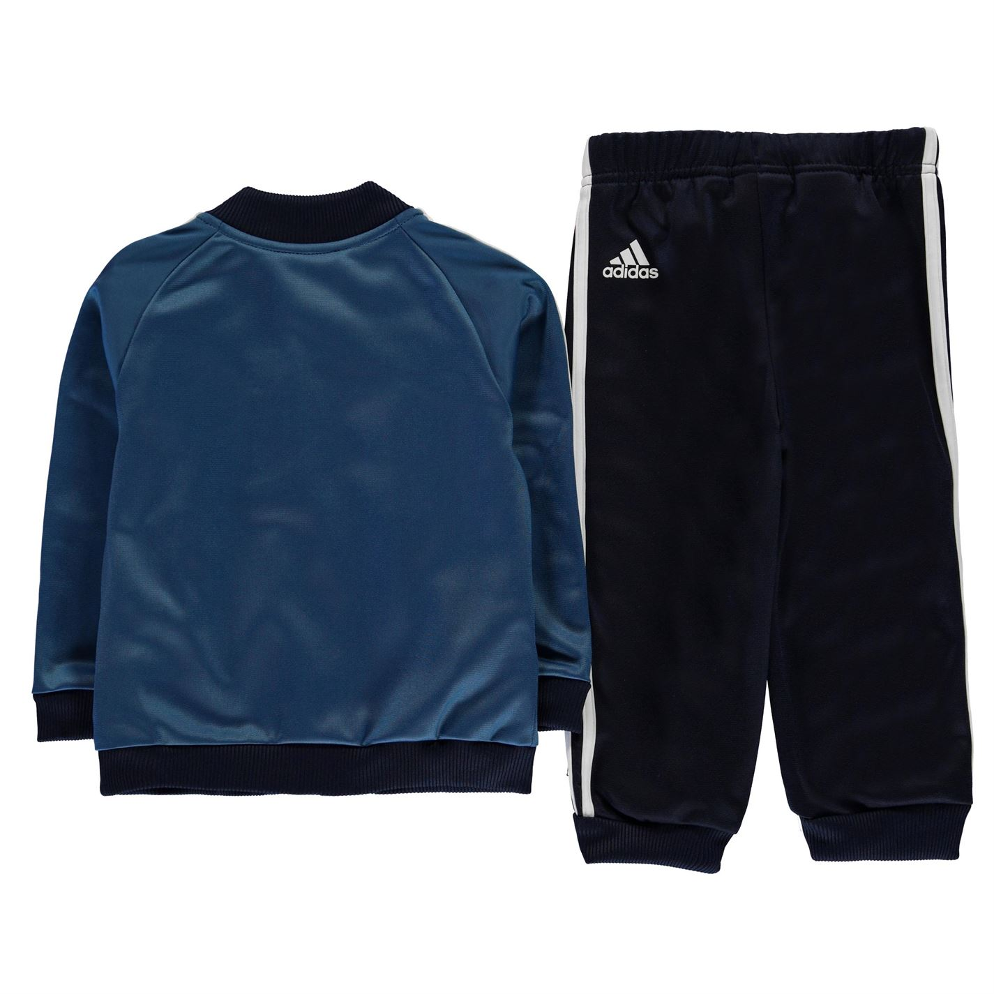 adidas 3S Poly Track Suit Infants Boys Tracksuit Zip Stripe ... 78b645a21