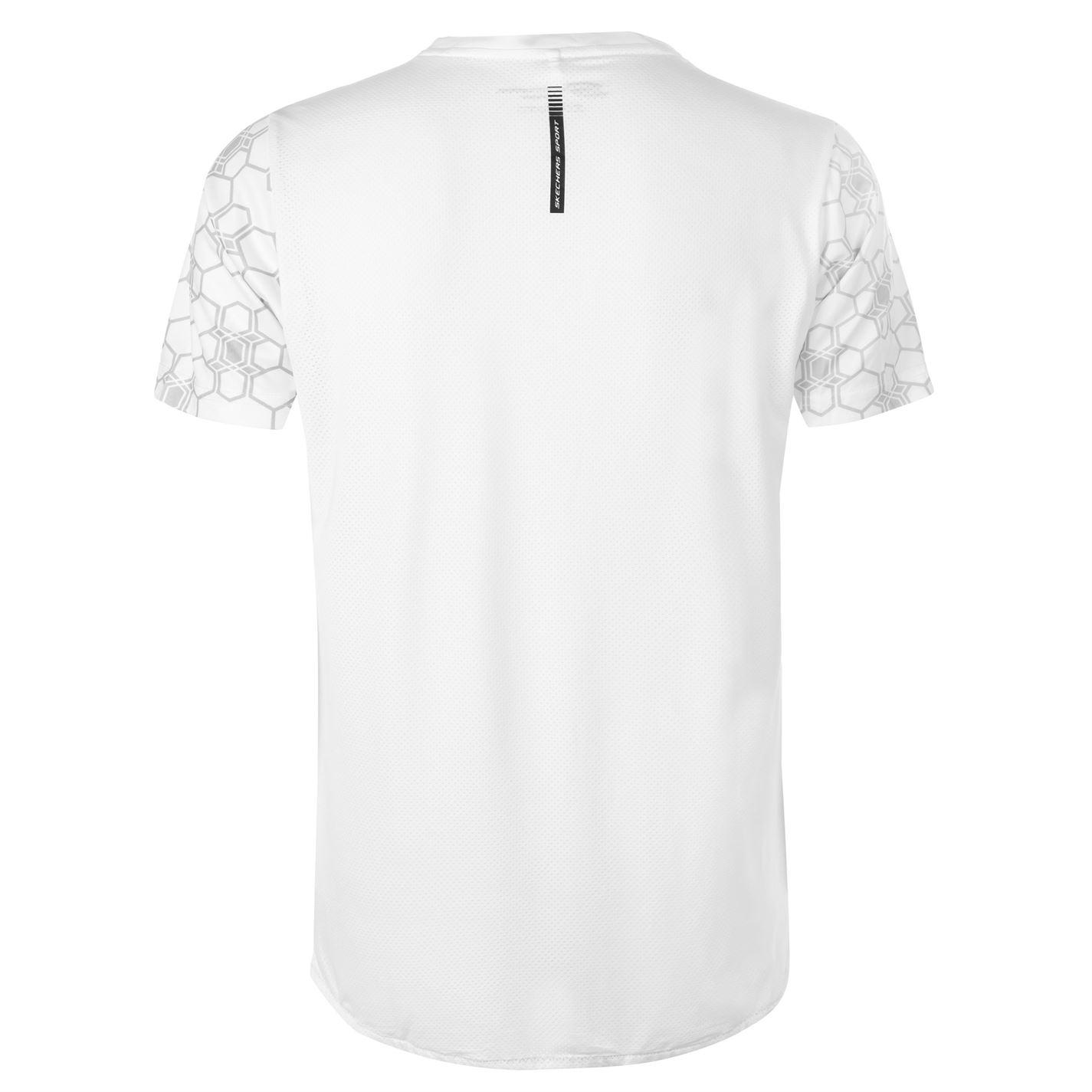 Skechers-Mens-Aop-Camiseta-Mangas-Cortas-Cuello-Redondo-Camiseta-Top-Performance miniatura 5