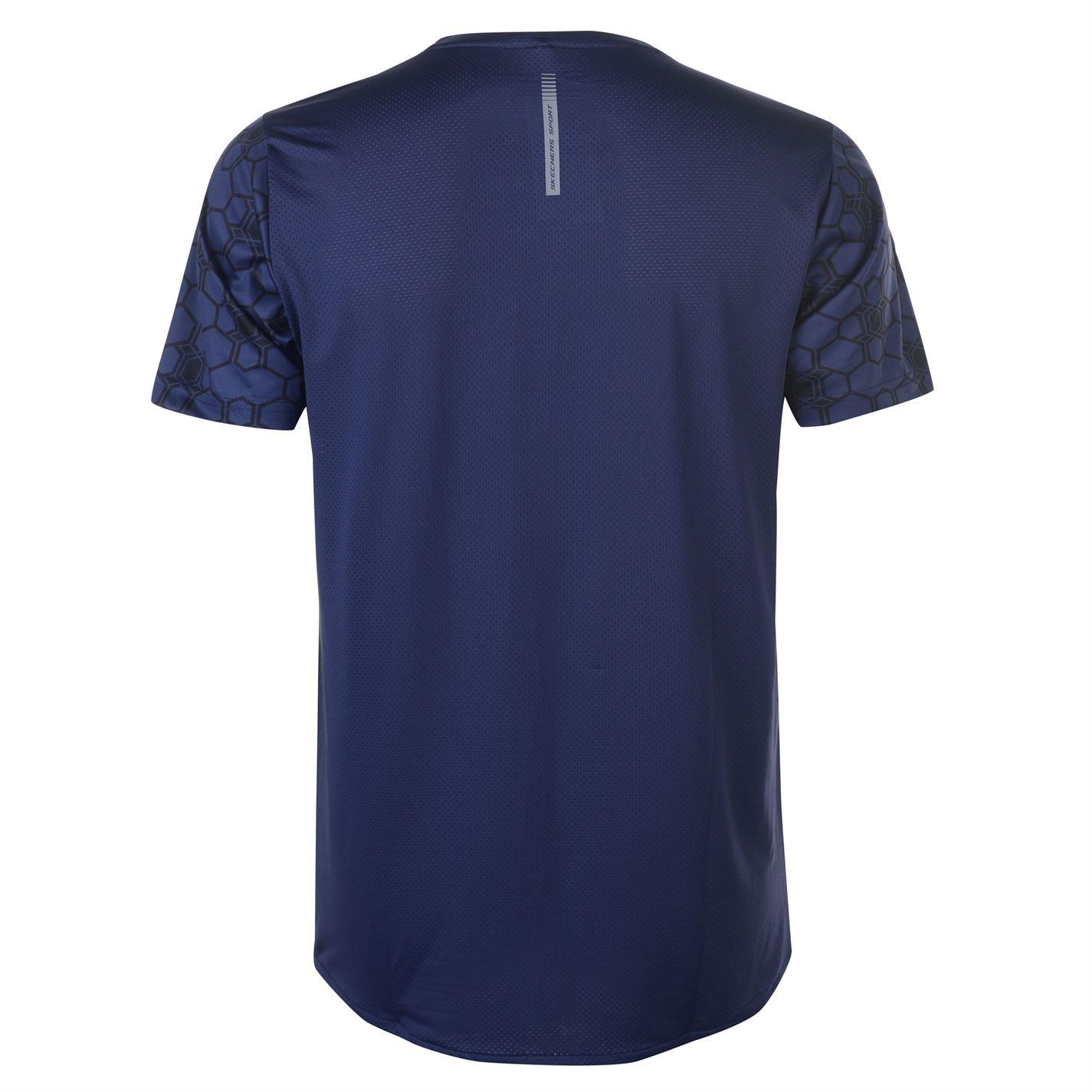 Skechers-Mens-Aop-Camiseta-Mangas-Cortas-Cuello-Redondo-Camiseta-Top-Performance miniatura 11