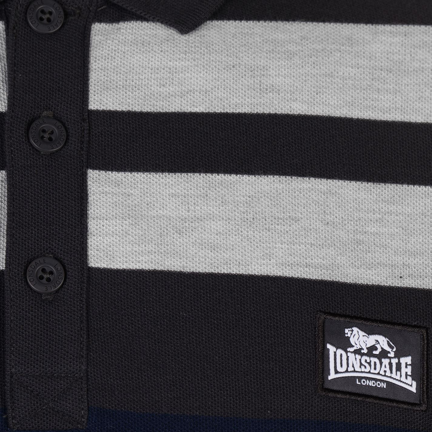 Lonsdale-Mens-Stripe-Polo-Shirt-Classic-Fit-Tee-Top-Short-Sleeve-Button-Placket thumbnail 12