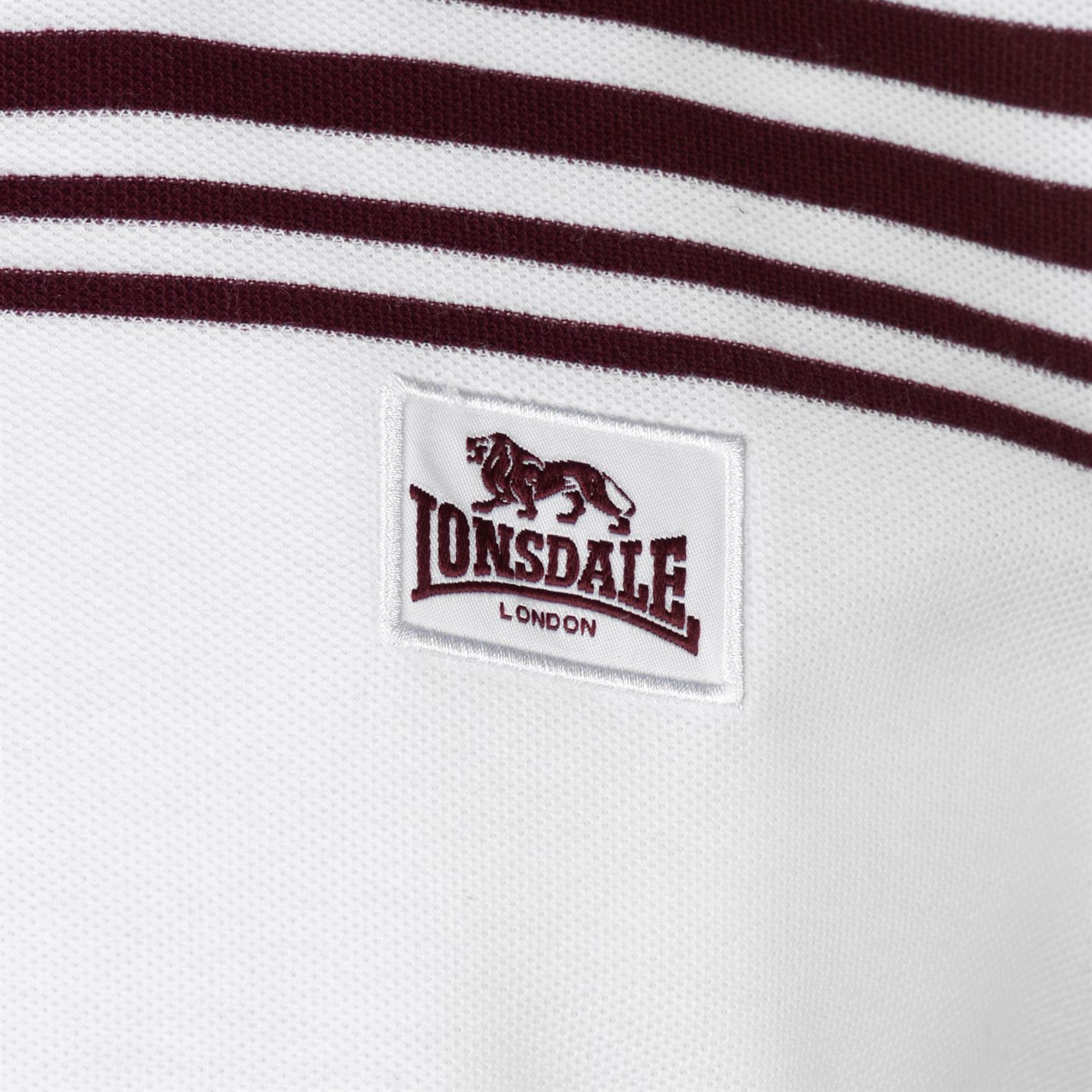 Lonsdale-Mens-Stripe-Polo-Shirt-Classic-Fit-Tee-Top-Short-Sleeve-Button-Placket thumbnail 18
