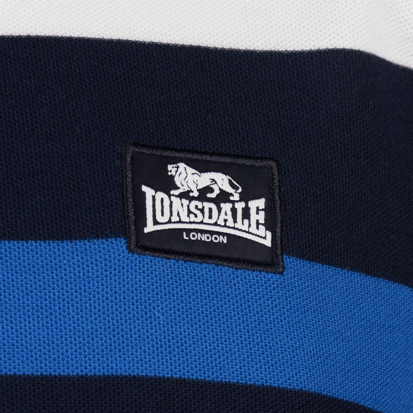 Lonsdale-Mens-Stripe-Polo-Shirt-Classic-Fit-Tee-Top-Short-Sleeve-Button-Placket thumbnail 21