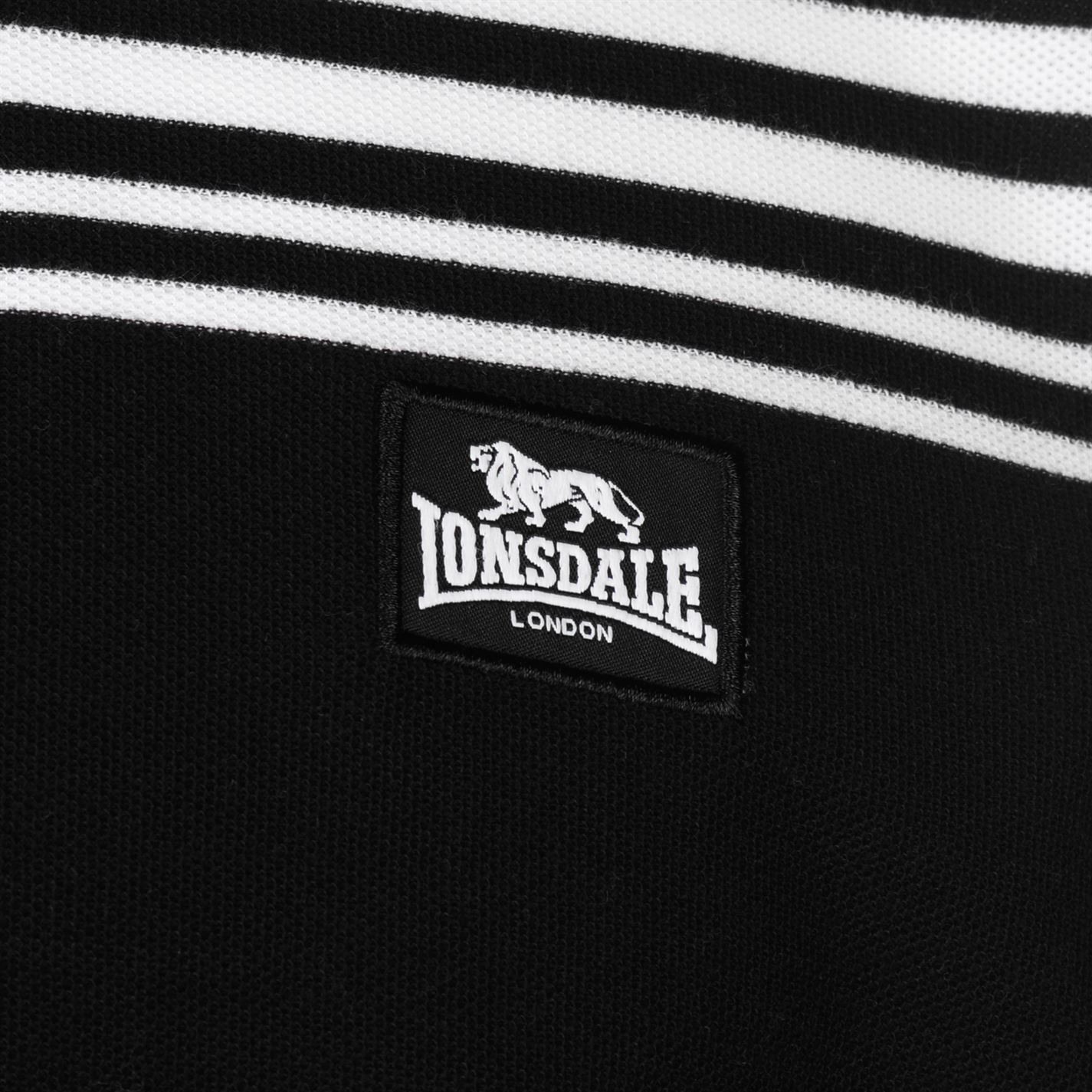 Lonsdale-Mens-Stripe-Polo-Shirt-Classic-Fit-Tee-Top-Short-Sleeve-Button-Placket thumbnail 24