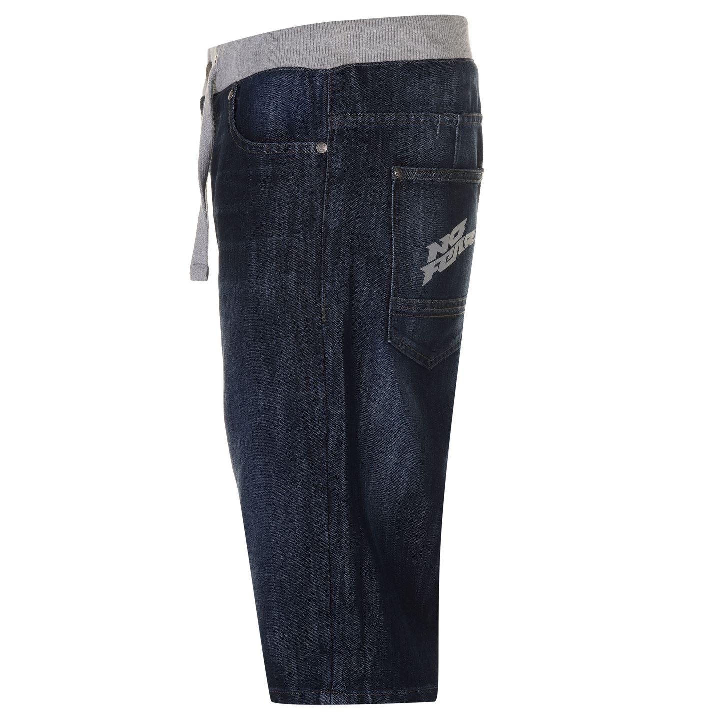 No-Fear-Mens-Denim-Shorts-Pants-Trousers-Bottoms-Zip-Warm-Drawstring-Elasticated thumbnail 5