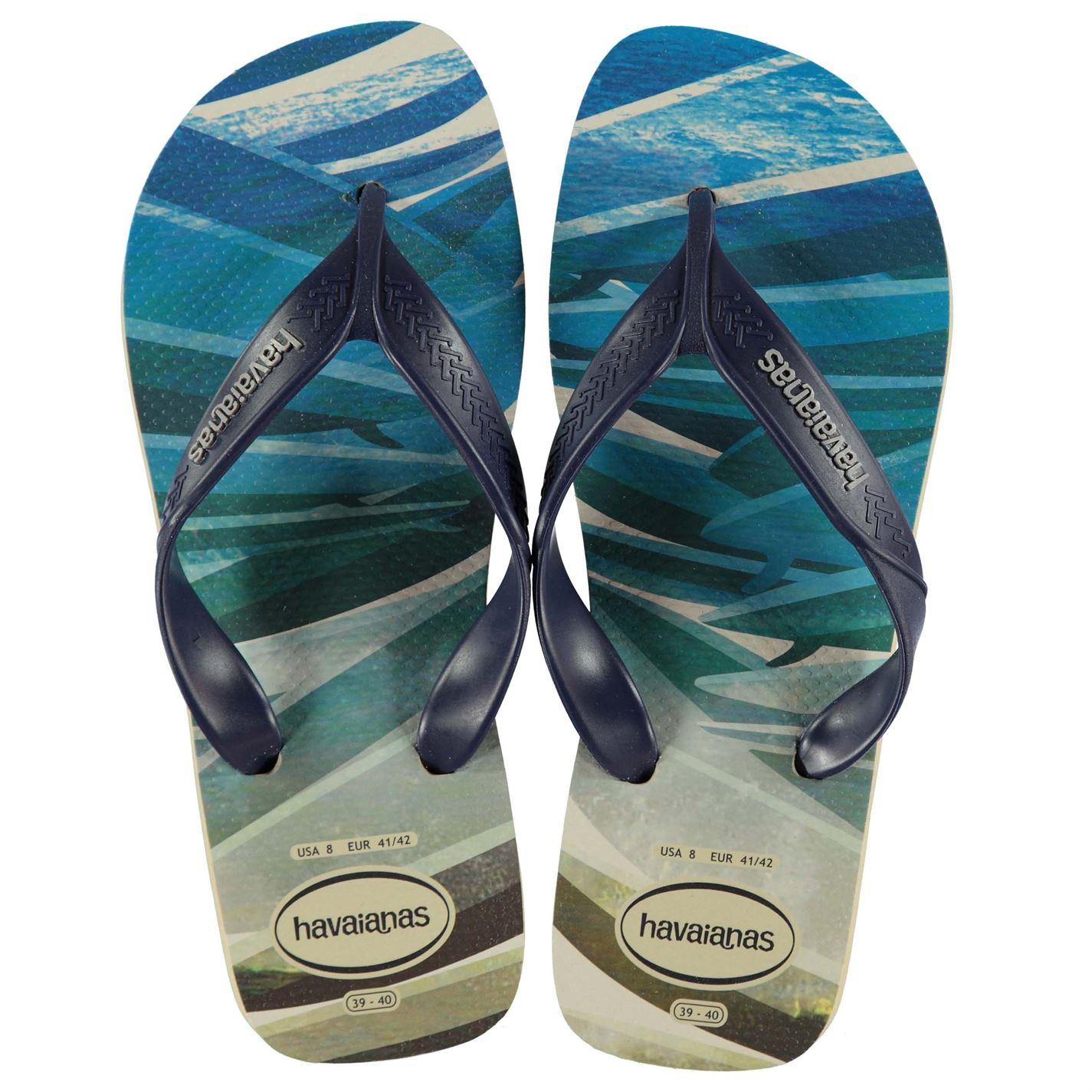 33789cd7f70ae9 Havaianas Mens Surf Flip Flops Strap Toe Post Pattern Print Textured ...