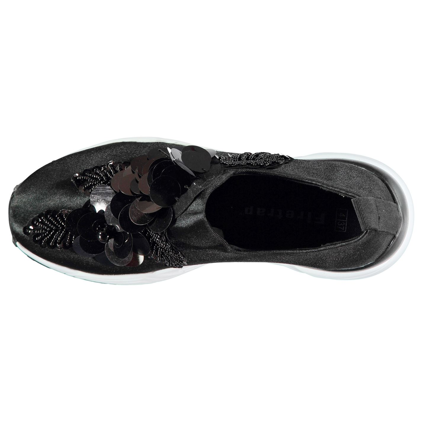 Negro Flower On Sneakers Sock Ladies Firetrap Slip FTwq8YxZ