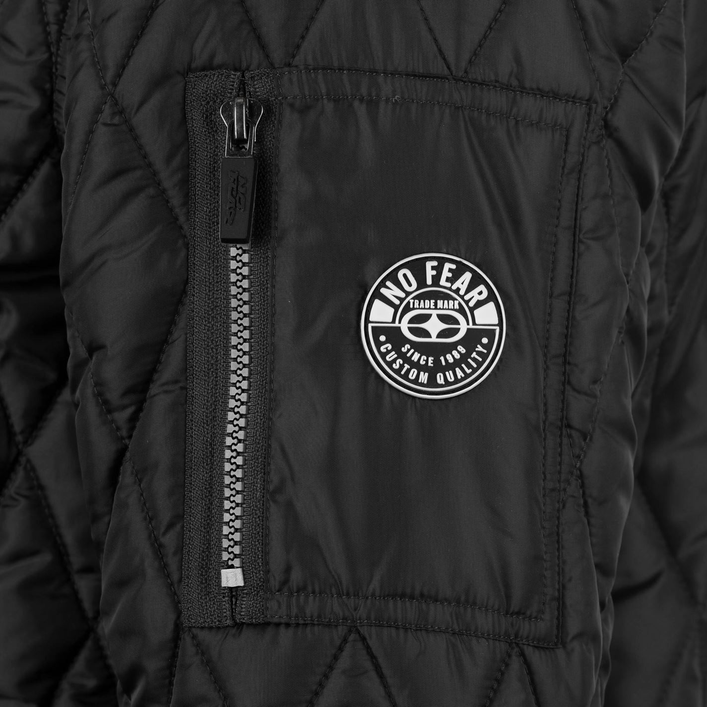 No-Fear-Quilted-Bomber-Jacket-Mens-Gents-Coat-Top-Full-Length-Sleeve-Zip-Zipped thumbnail 7