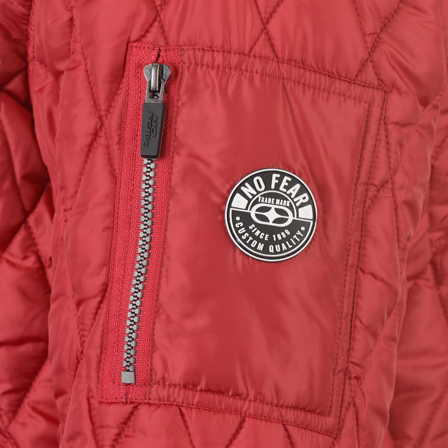 No-Fear-Quilted-Bomber-Jacket-Mens-Gents-Coat-Top-Full-Length-Sleeve-Zip-Zipped thumbnail 11