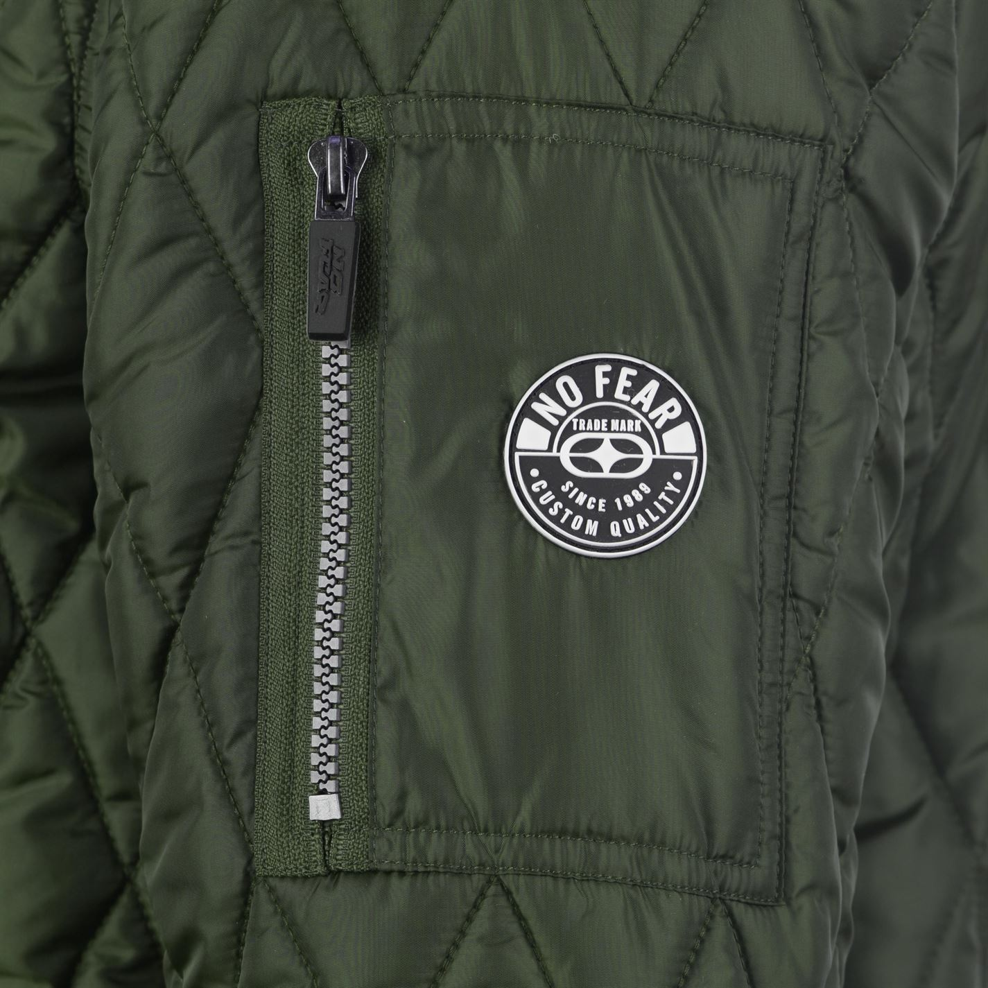 No-Fear-Quilted-Bomber-Jacket-Mens-Gents-Coat-Top-Full-Length-Sleeve-Zip-Zipped thumbnail 15