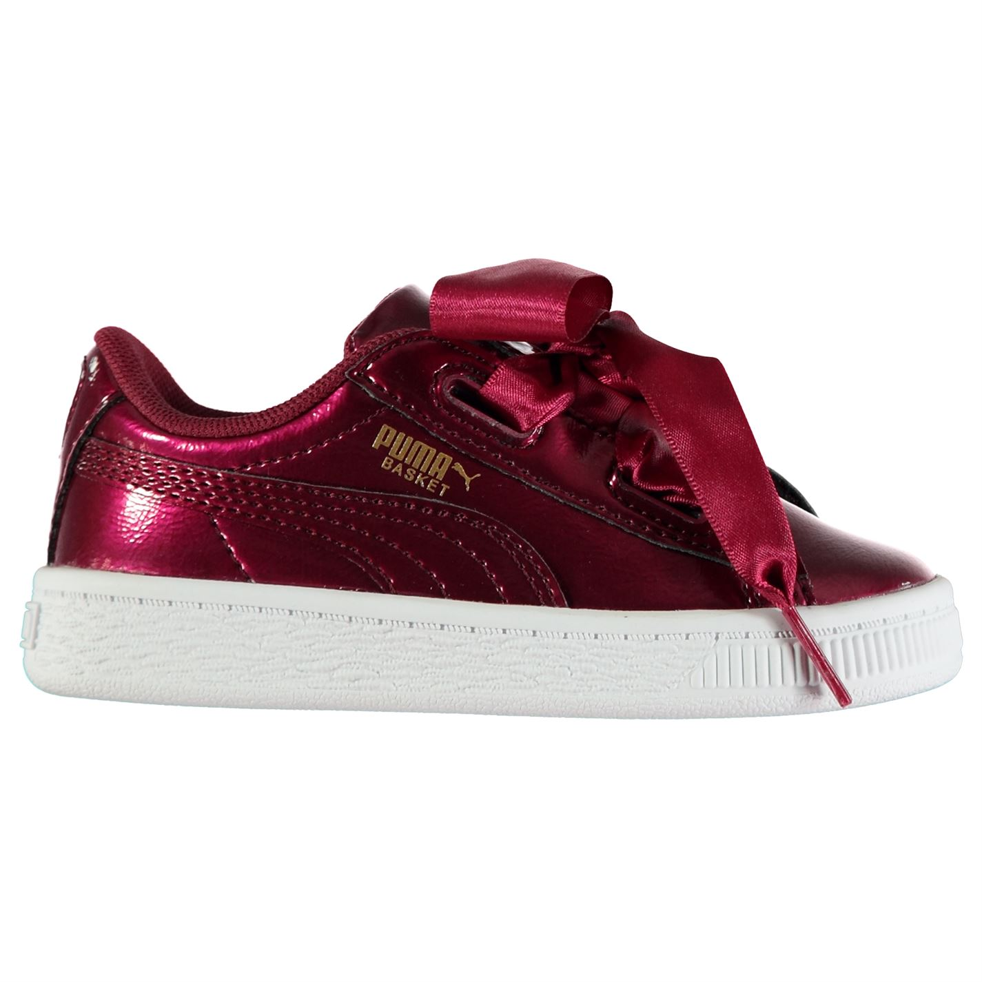 online store 72046 03699 Details about Puma Basket Heart Glam Sneakers Childs Girls Low Laces  Fastened Padded Collar