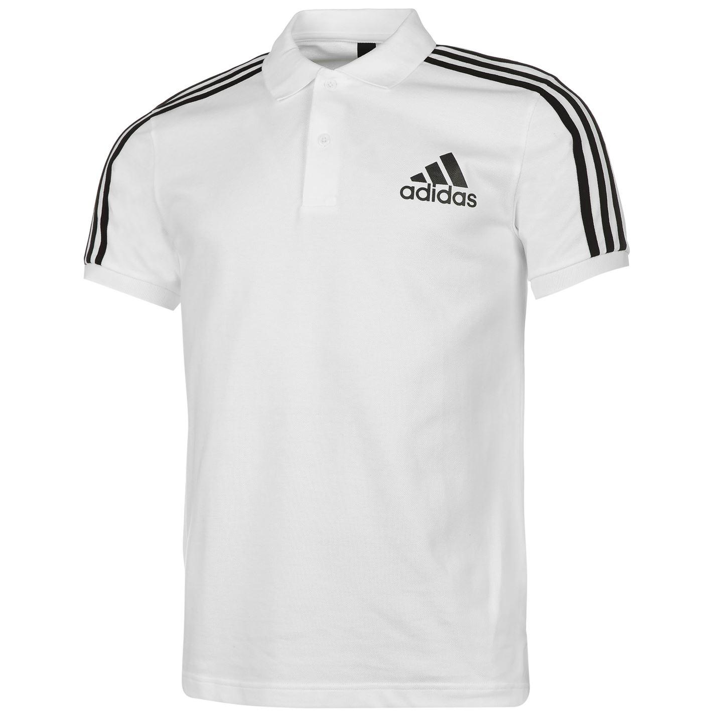 d9a636435a4 adidas Mens 3 Stripes Logo Polo Shirt Tee Top Cotton Print Casual ...