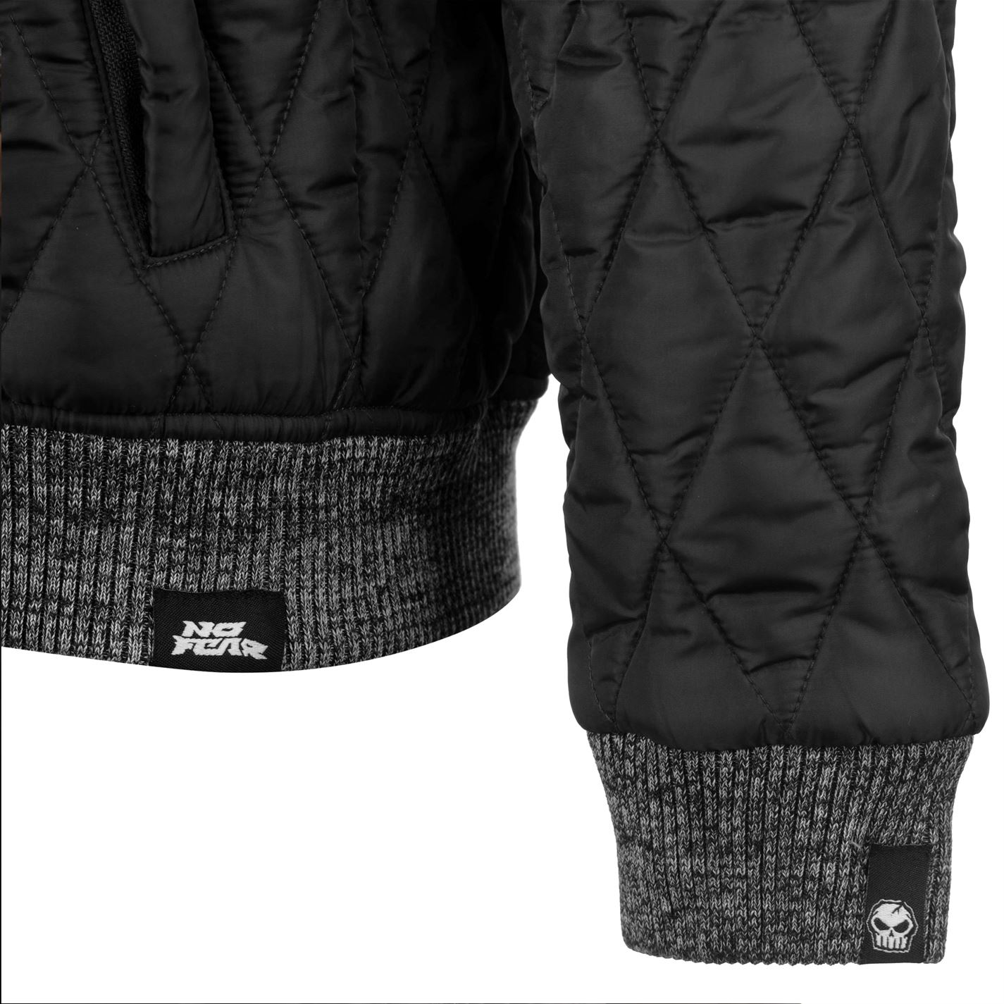 No-Fear-Quilted-Bomber-Jacket-Mens-Gents-Coat-Top-Full-Length-Sleeve-Zip-Zipped thumbnail 8
