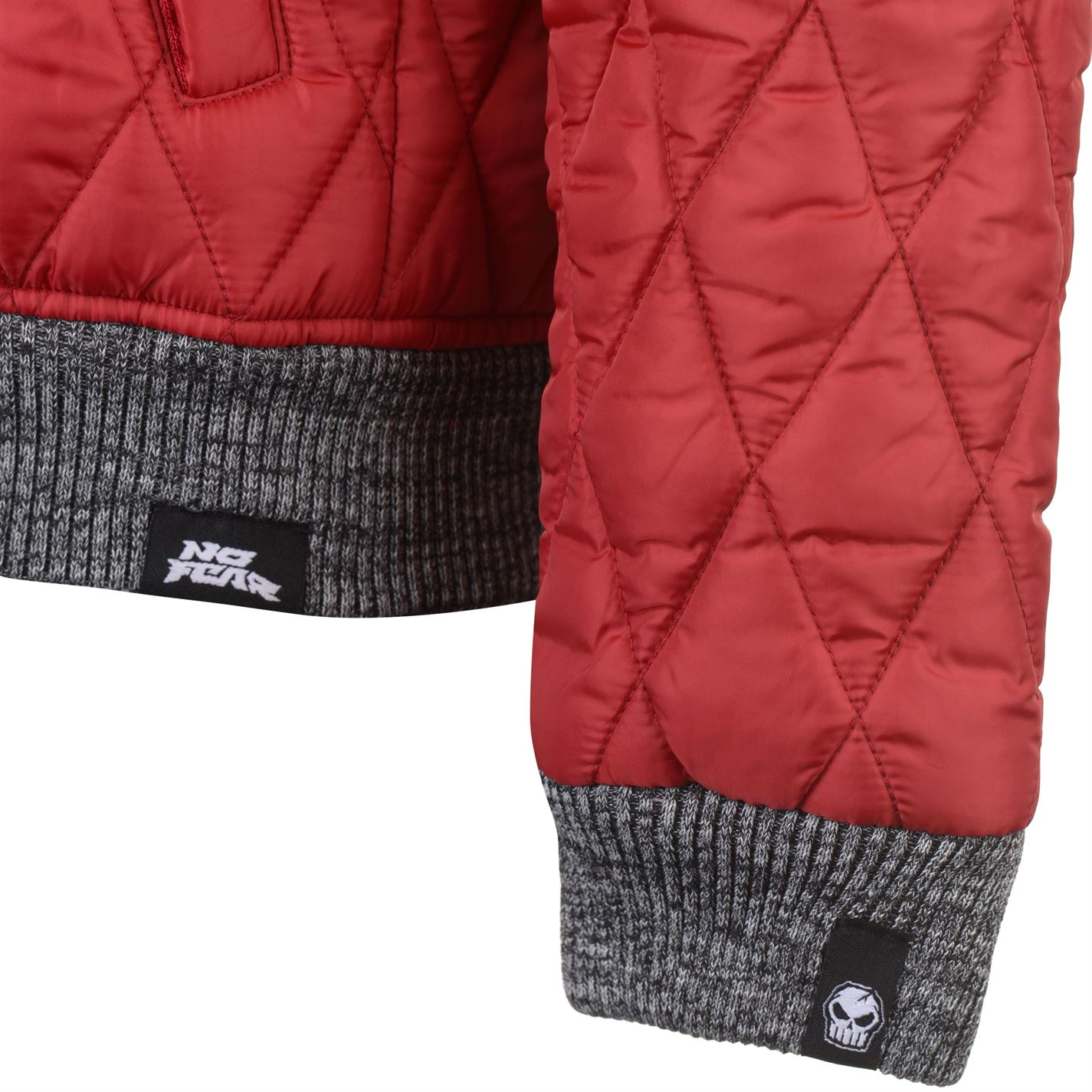 No-Fear-Quilted-Bomber-Jacket-Mens-Gents-Coat-Top-Full-Length-Sleeve-Zip-Zipped thumbnail 12