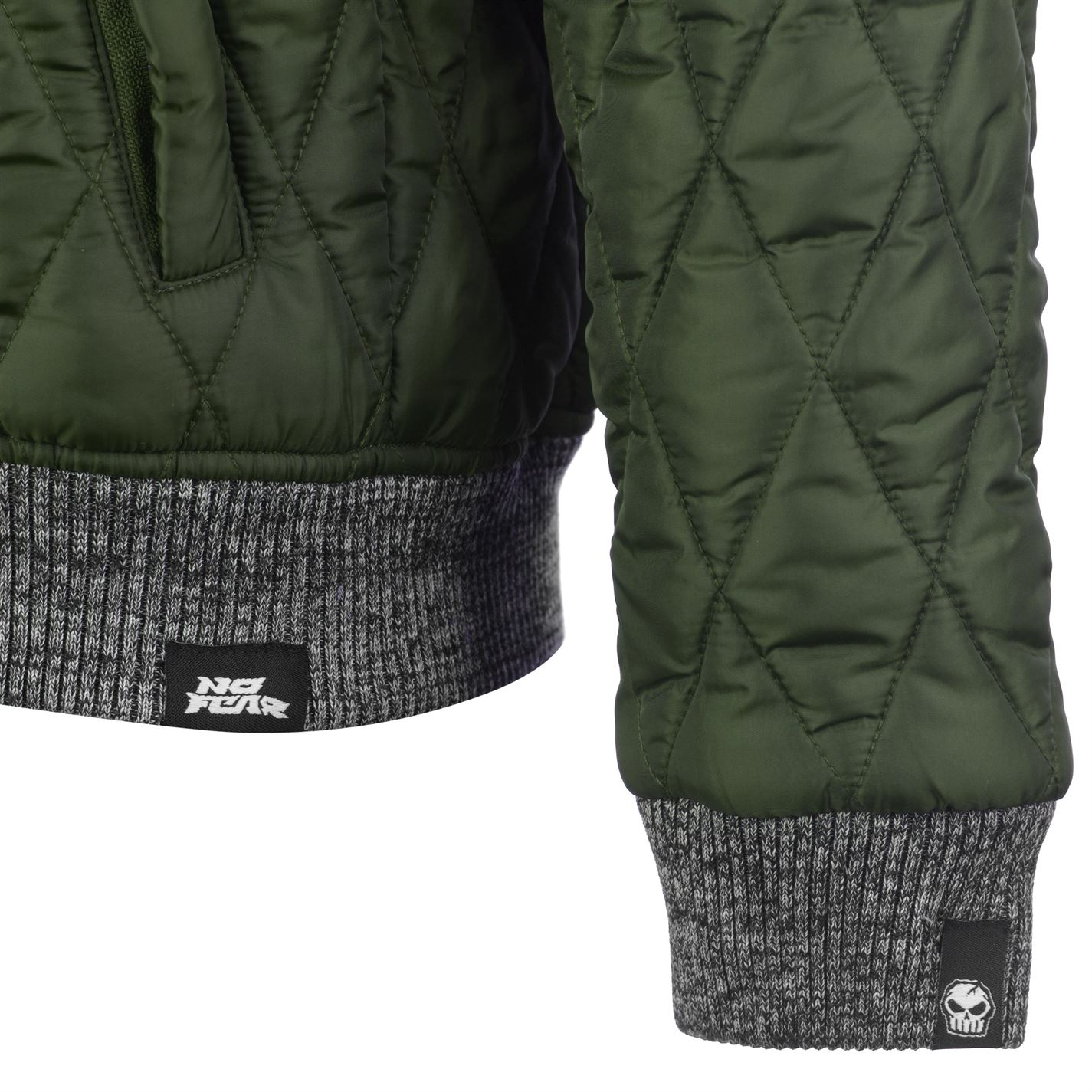 No-Fear-Quilted-Bomber-Jacket-Mens-Gents-Coat-Top-Full-Length-Sleeve-Zip-Zipped thumbnail 16