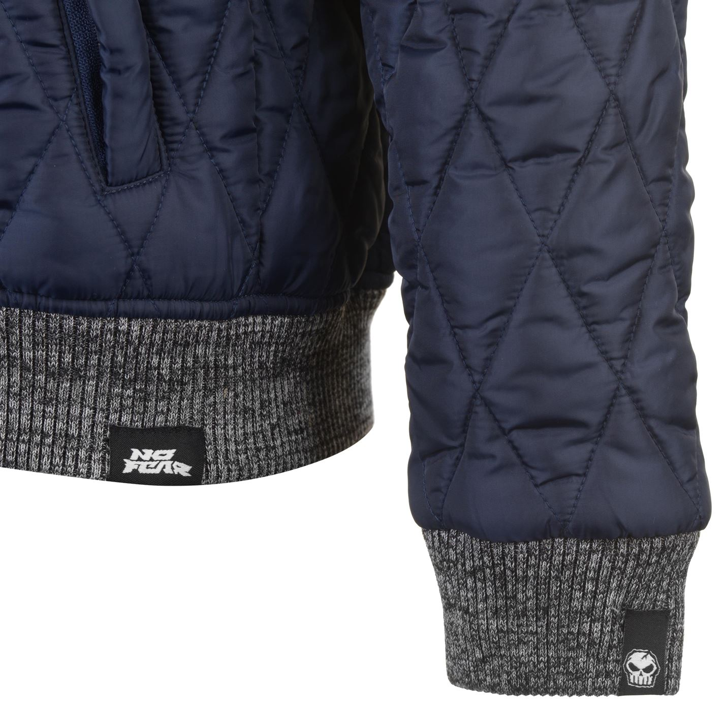 No-Fear-Quilted-Bomber-Jacket-Mens-Gents-Coat-Top-Full-Length-Sleeve-Zip-Zipped thumbnail 20