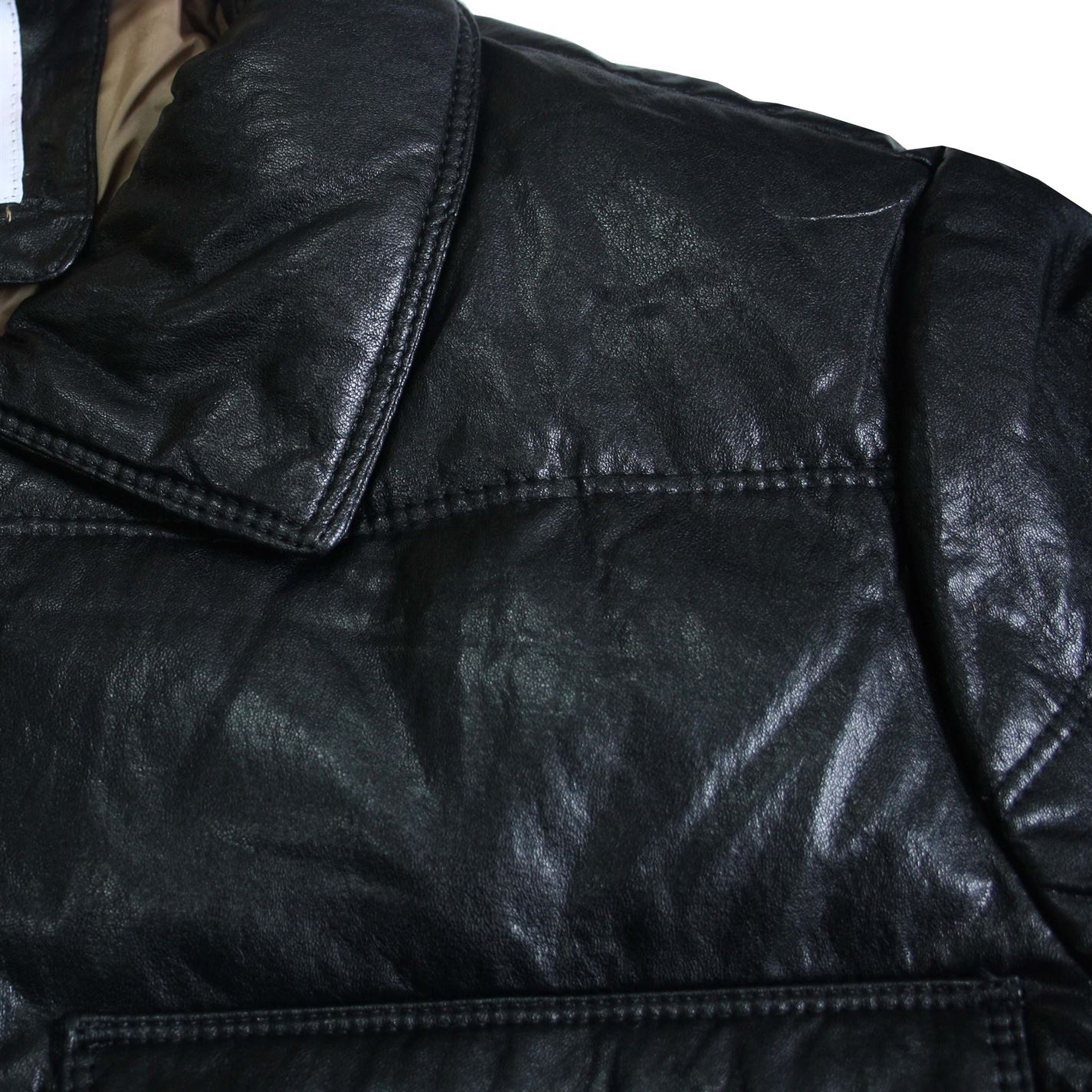 b2059b5f9 Details about Lee Cooper Mens PU Down Jacket Leather Coat Top Zip Full  Winter Warm Popper